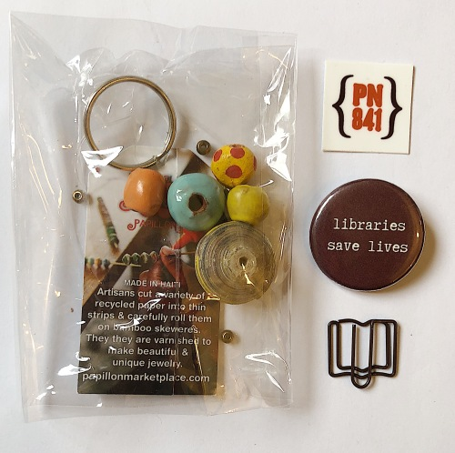 Key chain, badge, paperclip